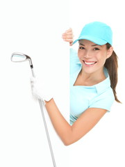 Golf sign - woman showing paper billboard