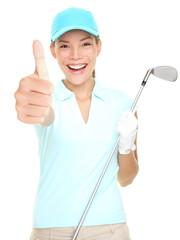 Golf player success woman smiling