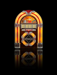 Juke box radio isolated on black background