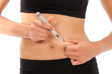 Dependent diabetes patient getting ready for insulin shot