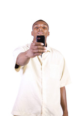 casual black man taking a picture with his phone