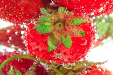 Macro on bubbly strawberry on soda glass