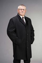 man in black wool coat