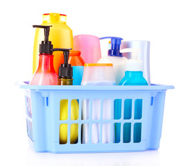 bottles of beauty and bath  products in blue box