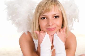 pretty angel on white