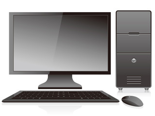 Black personal computer and monitor
