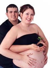 expectant couple holding tiny seedling. isolated