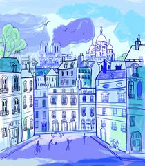 Poster Illustration Paris Paris in watercolor style