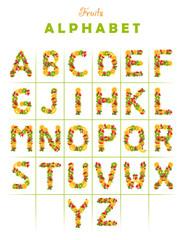 Alphabet from fruit