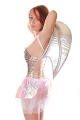SuperHero in Silver Corset with Bat Wings