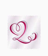romantisches Briefpapier mit Herz geschwungen