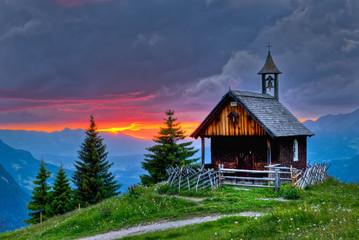 Abendrot in den Bergen