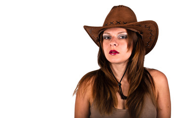sexy young woman with cowboy hat