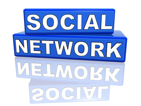 social network - blue boxes with reflection