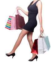 Beautiful woman with shopping bags for sale promotions
