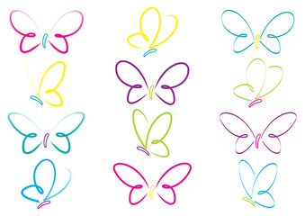 Hand drawn butterflies in vector format.