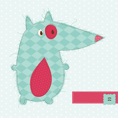 Greeting card with Fox - for scrapbook, invitation, celebration