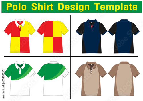 polo shirt design lined Vector template for design work Stock
