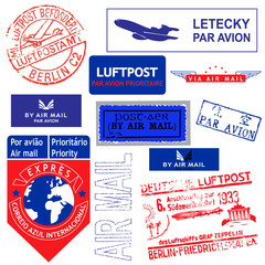 Vector stamp AIR MAIL set