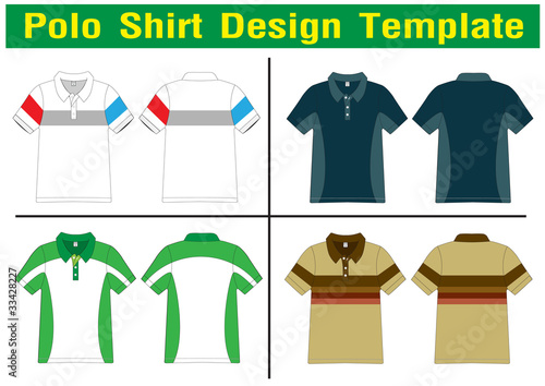 Polo Shirt lined Vector template for design work Stock image and