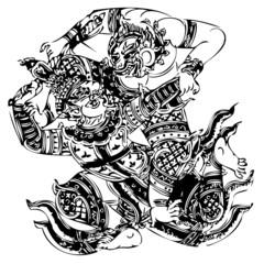 Demon Guardian Traditional Thai art. Lined design