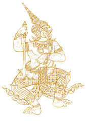 Demon Guardian Traditional Thai art. Lined design Vector templat