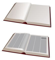 vector  illustration - two big books open