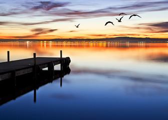 Foto op Textielframe Pier denoche en el lago