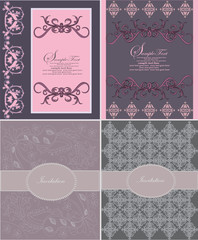 set of four invitation card,vector design
