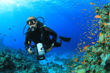 Underwater Photographer on Coral Reef