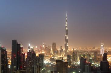 Downtown Dubai at night, United Arab Emirates
