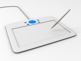 Computer drawing tablet with pen
