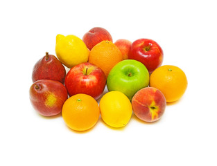 still life of fresh fruit on a white background