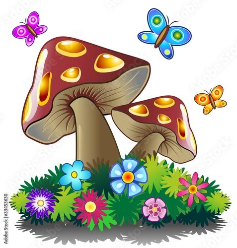 Funghi Primavera E Farfalle Spring Mushrooms Vector Stock Image And