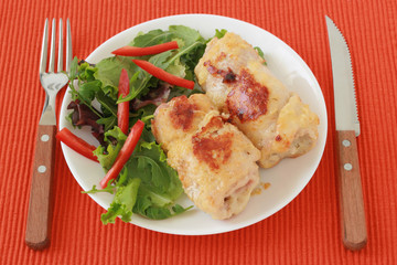 turkey rolls with salad