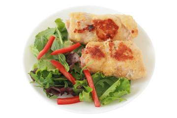 turkey rolls with salad