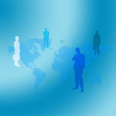 世界地図とビジネスマン