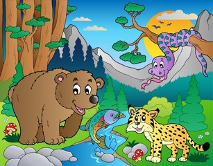 Wall Murals Bears Forest scene with various animals 9