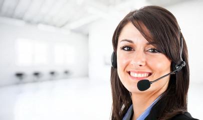 Smiling female operator