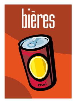 Bière, canette, supermarché, aliment, grande surface, boisson