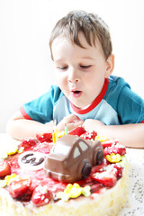 Birthday party celebration sweet cake food three candles