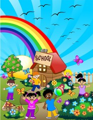 Tuinposter Vogels, bijen Bambini a Scuola-Children at School-Vector