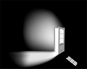 light through open white door