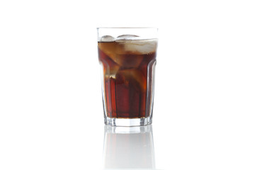 Brown soda in a clear glass
