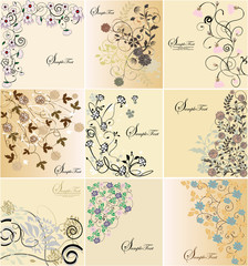 Set of floral greeting cards,vector design