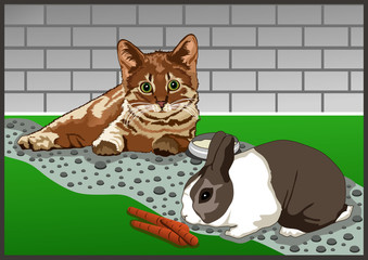 Printed kitchen splashbacks Cats with animals