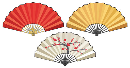 The traditional Japanese fan, three variants