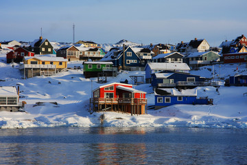 Colourful houses in Ilulissat, West Greenland