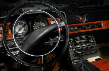 Papiers peints Rouge, noir, blanc interior of a retro styled car