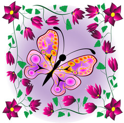 butterfly on a background flower
